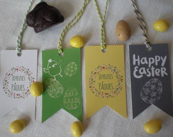 Four labels Easter banner shape