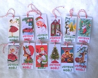 12 Christmas tags vintage assorted series No. 1 advent calendar