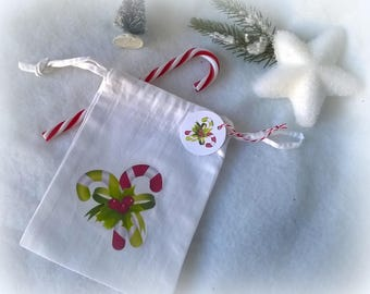 Mini bag fabric Christmas candy cane pattern