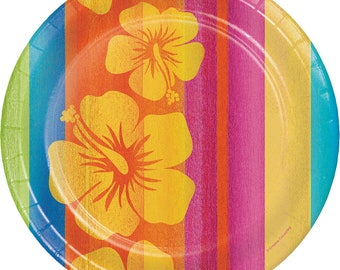 Sunset Stripes Hibiscus Dinner Plates [8ct] Luau Hawaiian Tropical Party Supplies Tableware  sc 1 st  Etsy & Hawaiian paper plate | Etsy