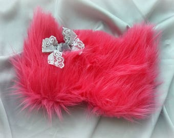 Pink Furry Cat & lace gray bow sleep mask Cute Fluffy Fur kitty eye mask Pj party favor Travel mask Fluffy blindfold Slumber party eye mask