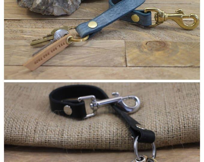 Leather lanyard, Walkthedog key clip, Leather key holder, FREE phone tag, Handmade key holder, Gift, Christmas gift, Keychain.