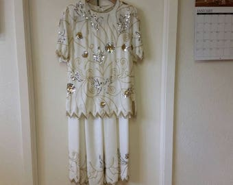 Ivory Gold and Silver Beaded Evening Top & Skirt