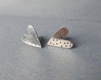 Large dotty heart earrings