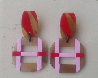 Buffalo Horn Earrings Lacquered Red Pink QG21