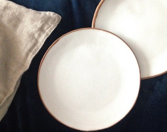 White stoneware ceramic dinner plate