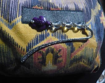 Mini little purple turtle bookmark and rock crystal
