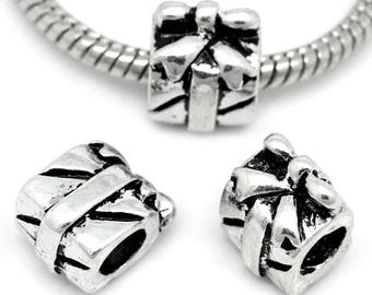 5 Euro Style Antique Silver Gift Box/Package Charm Beads (B465p)
