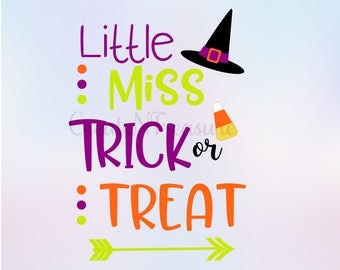Halloween svg, Witch svg, Little Miss Trick or Treat svg. Cutting file for silhouette studio. Svg design for cricut. SVG, PNG, DXF