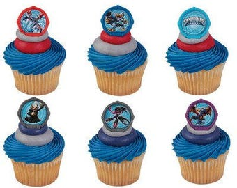 Skylanders Portal Cupcake Rings Birthday Wedding Set of 12 Cup Cake Video Game