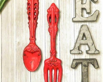 Kitchen Decor, Fork and Spoon SET, Kitchen Wall Decor, Home Decor, Rustic Kitchen Decor Kitchen Signs, Kitchen Sign Decor, Housewarming Gift