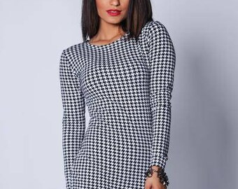 Black and White Houndstooth Mini Dress Size:XS/S/M