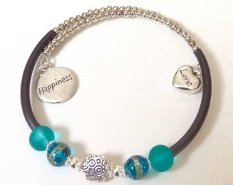 Love and Happiness Memory wire bracelet