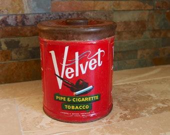 Velvet tobacco tin, 1940s Velvet pipe & cigarette tobacco tin with lid, tobacciana, smoking tobacco tin, smoker gift, retro decor, man cave