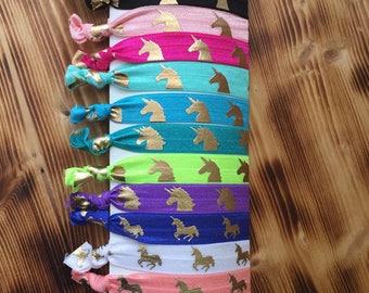 Unicorn Hair Ties | Fold Over Elastic Ties | Unicorn Favors | Leggings Hair Ties | Pony tail holders | Thank you gift | Bulk Hair Ties