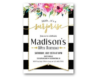 womens surprise birthday party invitations surprise party invites black and white stripes surprise invitations for a - Surprise Party Invites