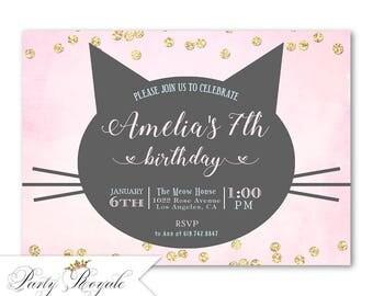 Cat Birthday Invitation, Girl's Kitty Cat Birthday Party, Printable Cat Themed Invites, Pink and Gold Glitter Confetti, Kitty Birthday Theme