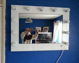 EVOS Gloss White Hollywood Vanity Mirror without bulbs wall mounted.