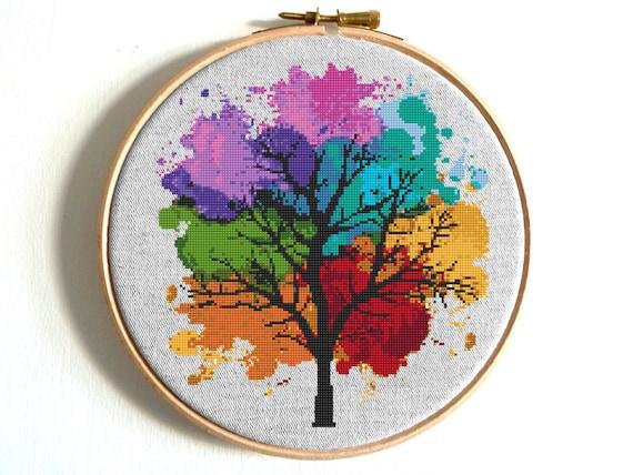 Four seasons cross stitch pattern watercolor art rainbow