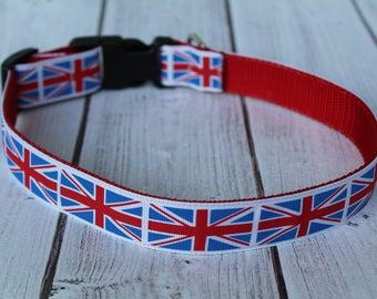 Union Jack Dog Collar - British Flag Dog Collar - Union Flag Dog Collar - Union Jack Dog Harness - British Dog Leash -
