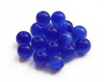 15 beads round 6 mm dark blue cat's eye
