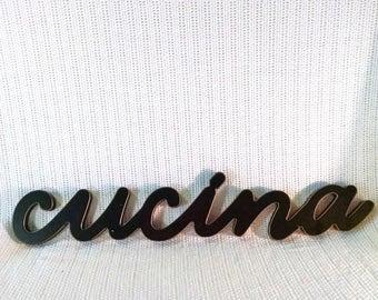 "21"" x 4"" black wooden, script writing ""Cucina"" sign ~ kitchen decor ~ Italian decor ~ cooking decor ~ bistro or restaurant decor"