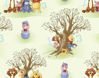 "Winnie the Pooh, peekaboo scenic, by Springs creative, 43-44"" wide, 100% cotton, by the half yard, cartoon fabric, disney fabric"