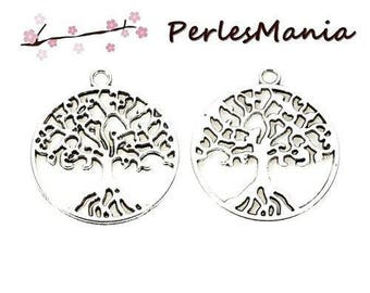 10 tree in circle (S1176426) ANTIQUE silver metal charms