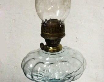 Antique Oil Lamp Vintage Table Kerosene Lamp, Old Kerosene Lamp, Antique Kerosene Lantern, Glass Kerosene Lamp, Table Accent Piece