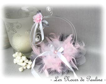Holder, pink, grey and white feather wedding rings