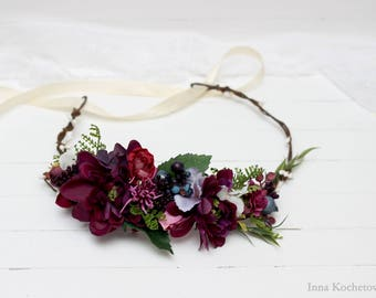 Purple flower crown Floral crown Wedding hair wreath Bridal headpiece Flower girl crown Flower halo Boho flower crown Bridesmaid  crown