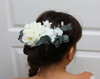 White peony eucalyptus headpiece Bridal hair flowers Wedding floral hairclip Floral accessories Boho wedding Half flower crown Bridesmaid
