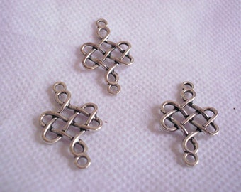 3 Chinese knots connector silver plated 30 mm x 18 mm