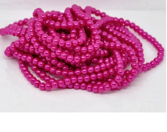 Set of 50 6 mm Hot Pink Pearl glass beads