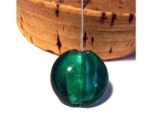 Set of 2 20 mm x 9 mm dark green lampwork beads