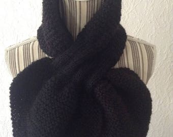 Cowl scarf hand knitted black sheet