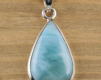 3.8cm LARIMAR & STERLING SILVER Pendant - Larimar Pendant, Larimar Necklace, Larimar Jewelry, Larimar Crystal, Teardrop Necklace J1118