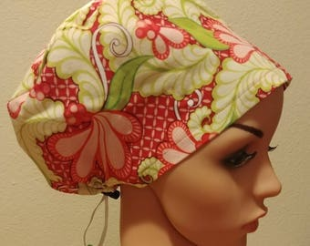 Women's Surgical Cap, Scrub Hat, Chemo Cap, Pink Floral