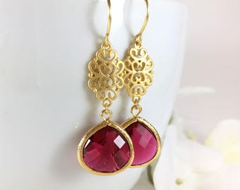 Gold Ruby Earrings Ruby Dangle Drop Earrings Gold Filigree Earrings Red Wedding Bridal Earrings Ruby Jewelry Red Earrings Ruby Bride Gift