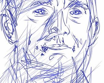 Martin Freeman Blue Scribble [PRINT]