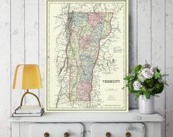 Vermont State Map, Vermont Map Canvas, Antiqued Vermont Map, Canvas Wall Decor, Vermont Wall Decor, Map of Vermont Canvas