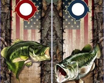 Wicked Wire Bass Fish Flag Camo LAMINATED Cornhole Wrap Bag Toss Decal Baggo Skin Sticker Wraps
