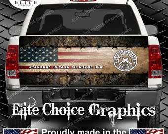 Wicked Wire 2nd Amendment Camo Flag Truck Tailgate Wrap Vinyl Graphic Decal Sticker Wrap