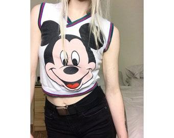 VTG Mickey Crop V-neck Sweatshirt