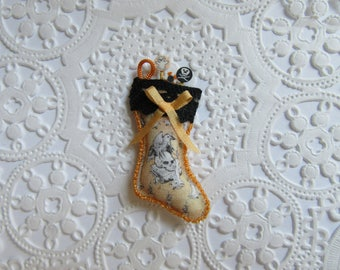 Miniature Halloween Stockings-1:12 Scale-With Skull and Crow-OOAK-Dollhouse Miniature