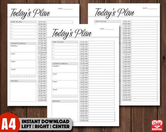 Hourly Planner, Daily Planner, Daily Schedule, Planner insert, Printable, Print out, size A4, Right Left Centre, Instant download, PDF