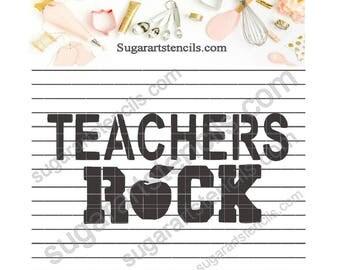 Teachers rock cookie stencil NB40015
