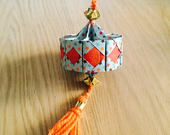 Lantern origami suspended for Chinese new year multicolor woolen orange