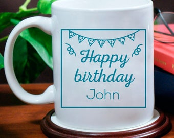 Happy Birthday Personalized Mug with Enthusiastic Design