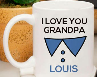 I Love You Grandpa Personalized Mug With Name Image Or Initial Printed
